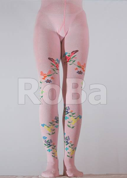 Cotton Tights With Flying Alina Pattern In Children Sizes Pink
