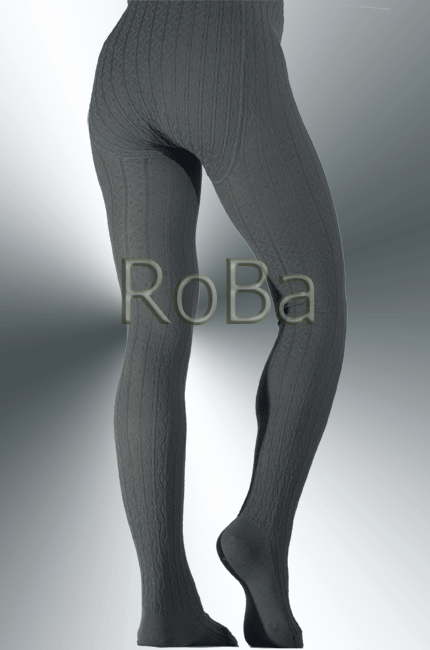 Ajour Cable Rib Ajour Knit Tights Grey With Merino Wool