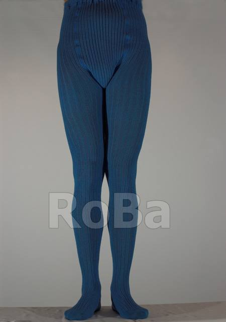 Wide Ribbed Knit Tights With Double Gusset Cobaldo Blue