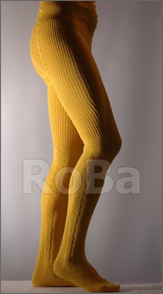 Knit Tights With Cable Pattern Up To The Knee Yellow