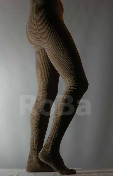 Knit Tights With Cable Pattern Up To The Knee Beige
