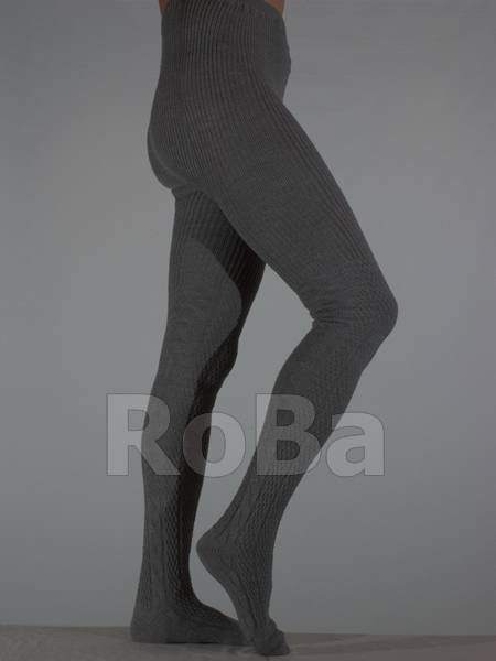 Cable Pattern Warm Merino Knit Tights Grey