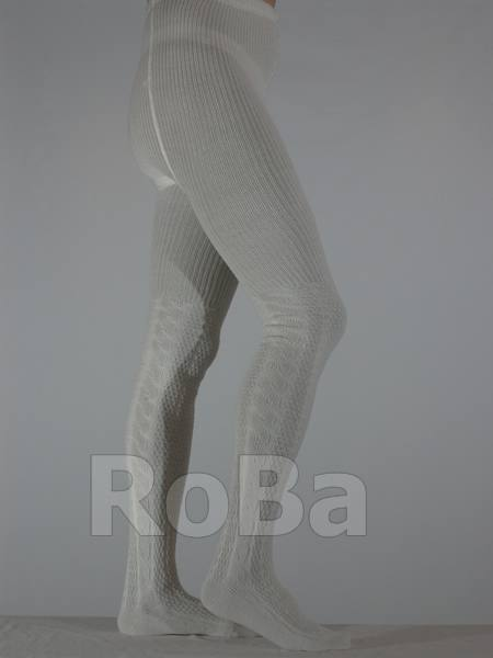 Mens Knit Tights With Cable Pattern Up To The Knee Ecru